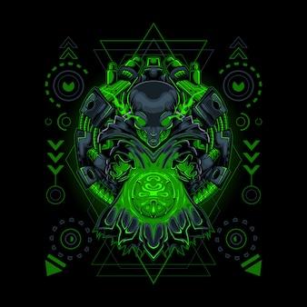 Fortune teller alien estilo robótico geometría sagrada