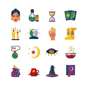 Fortune teller atributos iconos planos establecidos