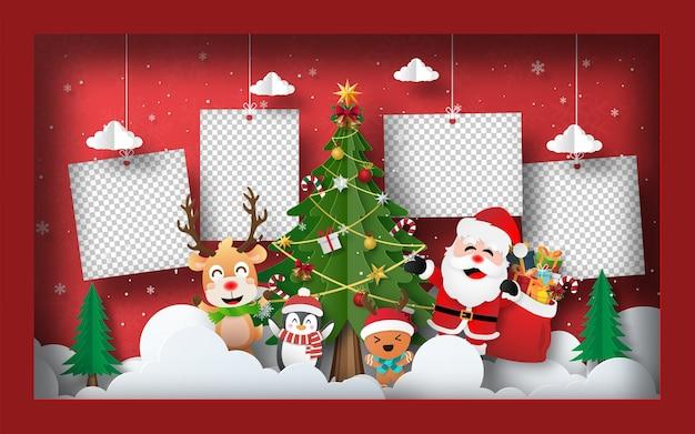 Foto en blanco de fondo de banner de postal de navidad con árbol de navidad en marco