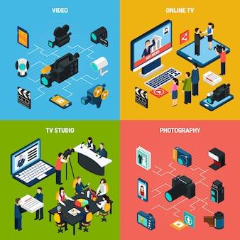Foto composición isométrica de video de equipos profesionales de televisión y fotografía con personajes humanos