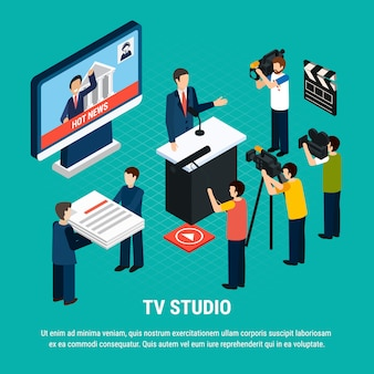 Foto composición isométrica de video con texto editable y personajes humanos de trabajadores de estudios de televisión profesionales