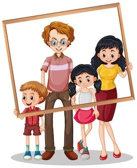 Foto de familia aislada con marco de fotos