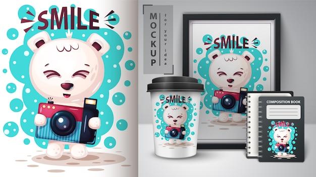 Foto oso polar y merchandising.