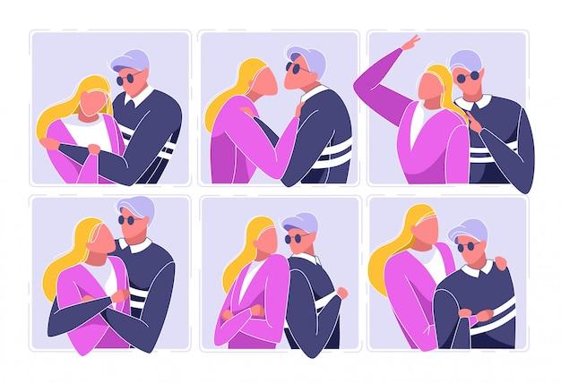 Foto de pareja en diferentes posiciones vector.