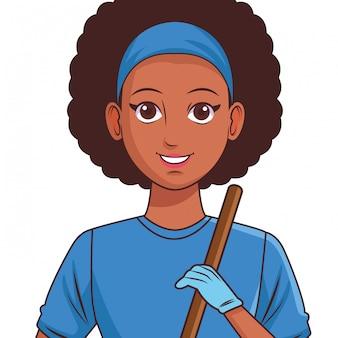 Foto de perfil de personaje de dibujos animados de avatar de mujer joven