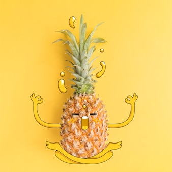Fotografía de piña con ilustración en estado zen