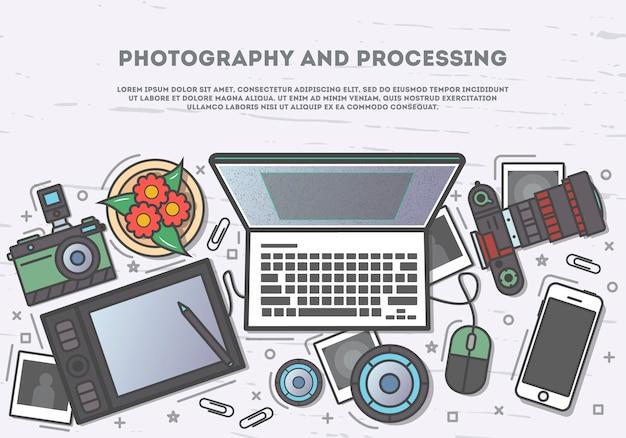 Fotografía y procesamiento de banner de vista superior