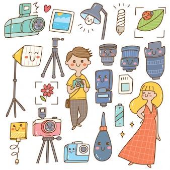 Fotógrafo con equipos kawaii doodle