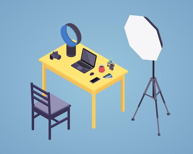 Fotógrafo isométrico en el trabajo