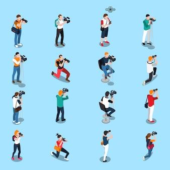 Fotógrafos y camarógrafos de conjunto isométrico.