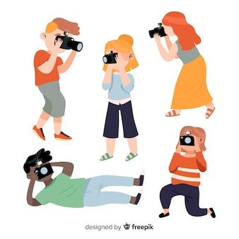 Fotógrafos trabajando con cámara