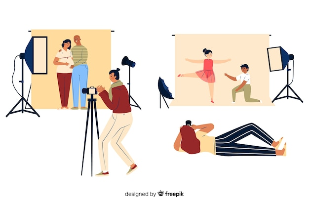 Fotógrafos trabajando en el estudio.