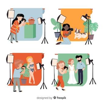 Fotógrafos trabajando en estudio