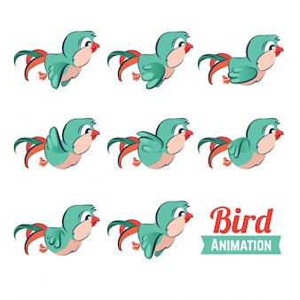 Fotogramas clave de animación de aves volando.