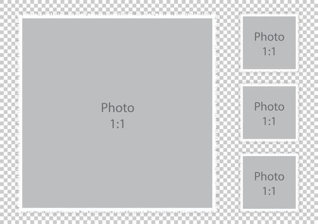 Fotomontajes de borde con textura peluda plantilla de boda collage moderno