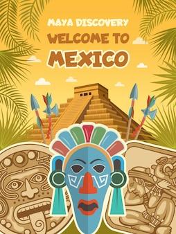 Fotos antiguas de máscaras tribales, artefactos mayas y pirámides.
