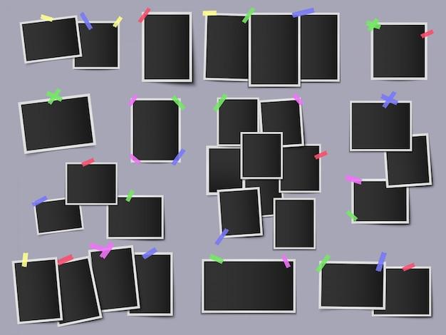 Fotos en cintas adhesivas de color. marcos de fotos vintage, maqueta de pared de foto de instantáneas hipster, conjunto de ilustración de plantilla de foto instantánea colgante. foto de marco, instantánea vacía y cinta de color
