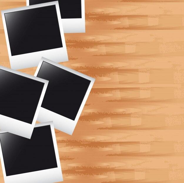 Fotos en madera con espacio para copiar el vector de fondo