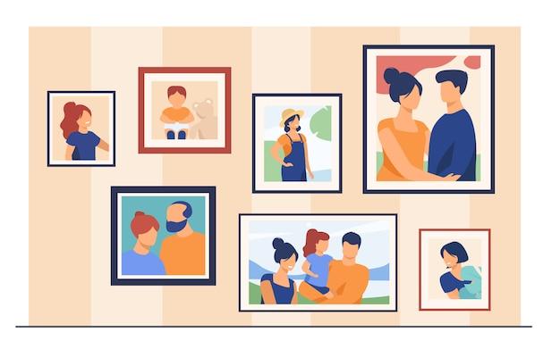 Fotos de retratos familiares en cuadros en la pared