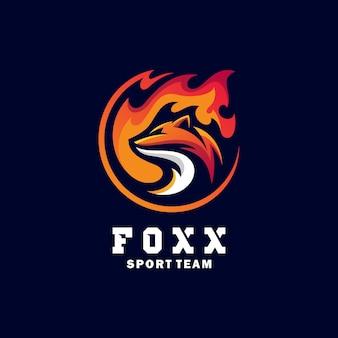 Fox deporte concepto ilustración vector diseño plantilla