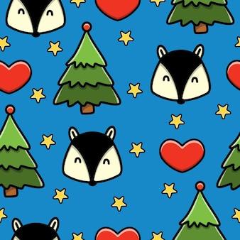 Fox dibujos animados doodle de patrones sin fisuras