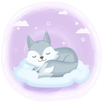 Fox dormido en la ilustración de dibujado a mano de nube