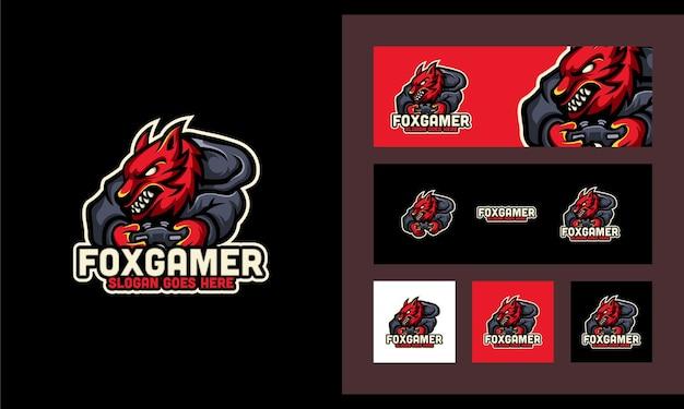 Fox gaming sport set plantilla de diseño de logotipo moderno y creativo