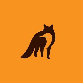 Fox negative space logo vector