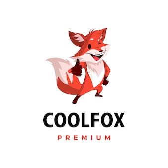 Fox pulgar arriba mascota personaje logo icono ilustración
