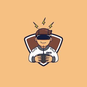 Fpv racing drone pilot hobby logo mascota personaje de icono de dibujos animados