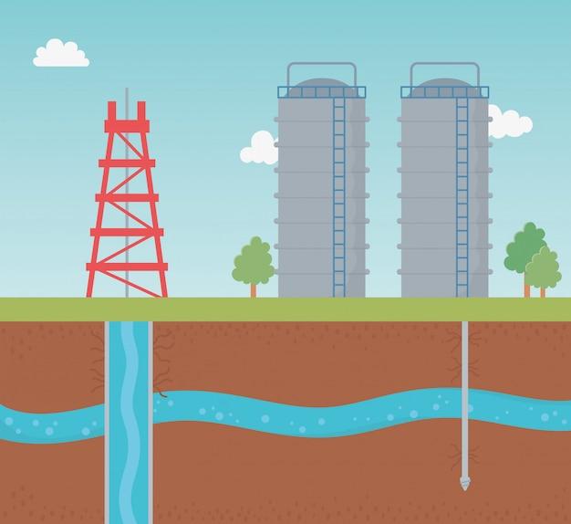 Fracking de exploración del proceso de almacenamiento de torres y tanques