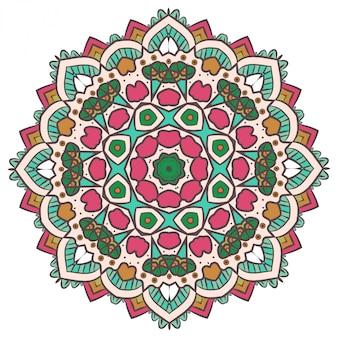 Fractal étnico mandala vector meditación se parece a un copo de nieve o maya azteca