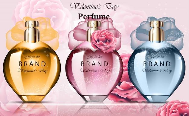 Fragancias coloridas de la colección del perfume de la botella de las mujeres. paquete de producto vectorial realista