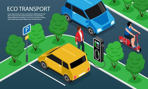 Fragmento isométrico del constructor de la ciudad con ilustración de transporte ecológico