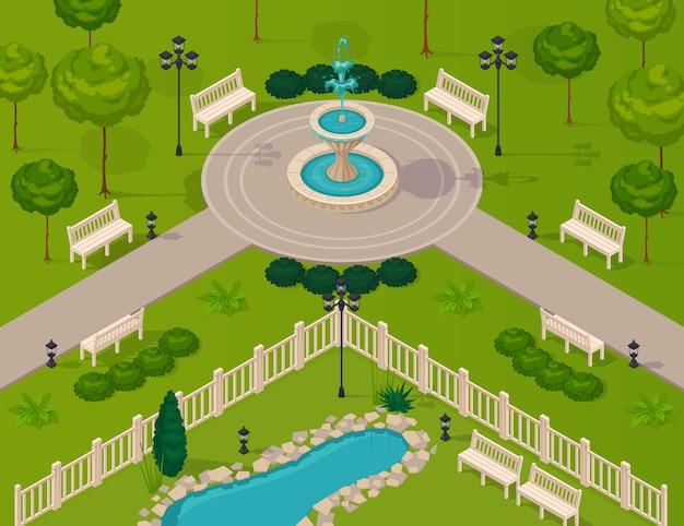 Fragmento del paisaje del parque de la ciudad