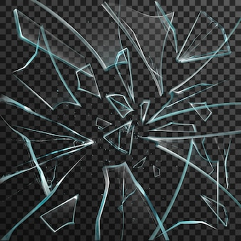 Fragmentos realistas de vidrio roto transparente