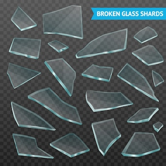 Fragmentos de vidrio realista oscuro transparente conjunto