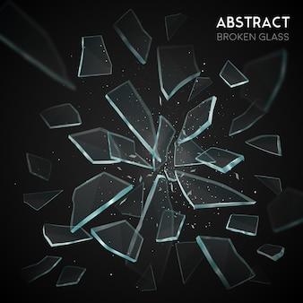 Fragmentos de vuelo de vidrio roto fondo oscuro