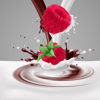 Frambuesas con leche y chocolate.