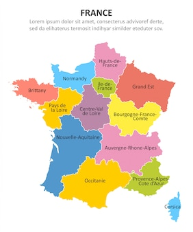 Francia mapa multicolor con regiones.