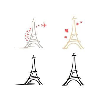Francia parís torre eiffel con corazón amor inspiración para el diseño del logotipo de viaje en avión