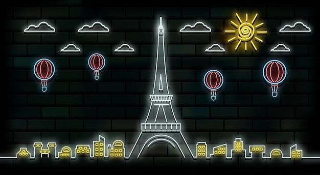 Francia y parís viajes y viaje de fondo luz de neón