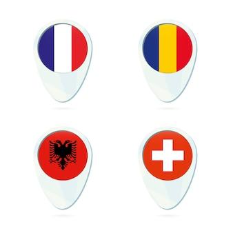 Francia, rumania, albania, suiza icono de pin de mapa de ubicación de la bandera.