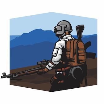 Francotirador en un vector de montaña