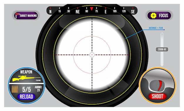 El francotirador del visor realista dispara una vista militar aislada o con el objetivo en un juego o juego de disparos fps
