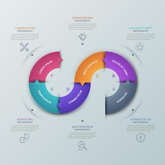 Franja curva dividida en 6 partes de colores con flechas que apuntan a iconos de líneas finas y cuadros de texto. concepto de proceso con seis pasos sucesivos. plantilla de diseño infográfico. ilustración vectorial.