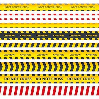 Franja de precaución. mensajes de peligro o de atención signos de la escena del crimen de la policía de seguridad