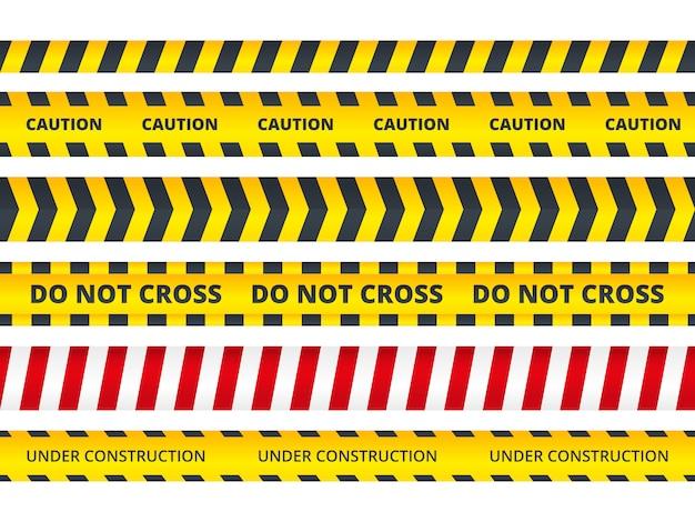 Franja de seguridad sin costuras. señales de peligro de seguridad no entran mensaje de peligro escena del crimen policial