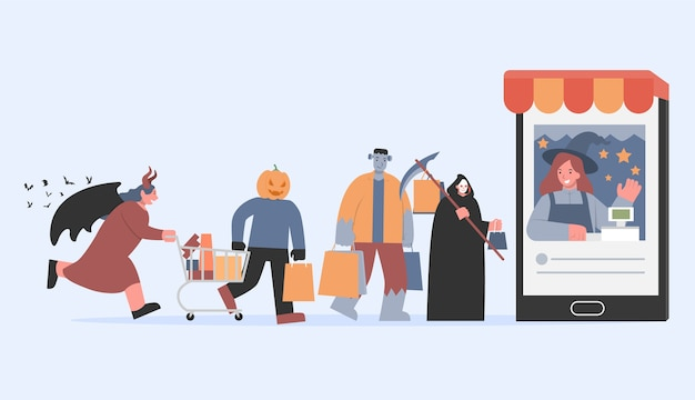 Frankenstein con una bolsa de compras y ángeles de la muerte y un monstruo calabaza caminando hacia el cajero en el teléfono inteligente. ilustración sobre compras en línea en la tradición de halloween del grupo diablo.