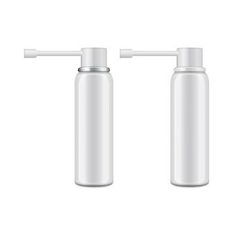 Frasco de aluminio blanco con pulverizador para pulverización oral.